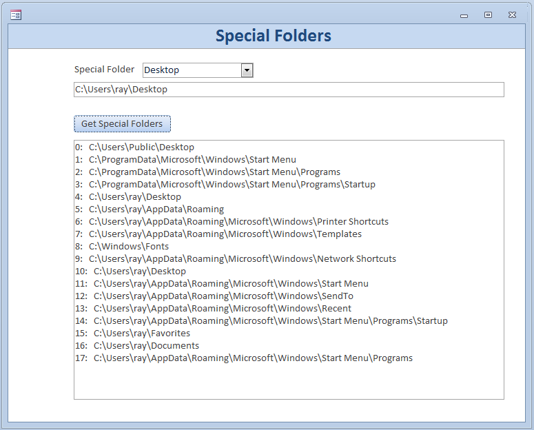 Microsoft Access – Finding Special Folders – Access Jitsu